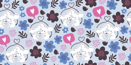 Seamless pattern with cute couple of mouses hugging, tails united in form of heart, flowers, hearts, polka dots. Valentines day animals kids pattern. Love concept. Cute couple of mouses in love Reklamní fotografie - 139282246