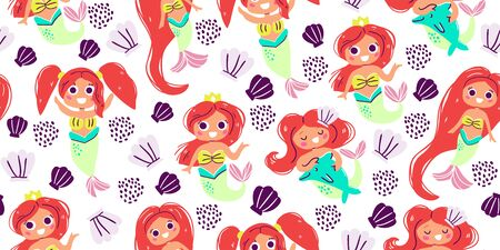 Seamless pattern with cute little mermaids, hand drawn style. Under the sea pattern  - little mermaids, seashells, stars. Perfect for kids textile graphic tees, fabric, textile, posters, stickers