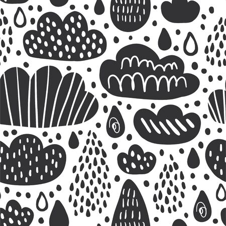 Cute seamless pattern with clouds and rainy drops in black ink style. Autumn or spring decorative fabric design. Girls boys wallpaper in outline doodle style