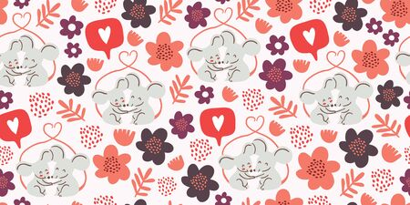 Seamless pattern with cute couple of mouses hugging, tails united in form of heart, flowers, hearts, polka dots. Valentines day animals kids pattern. Love concept. Cute couple of mouses in love