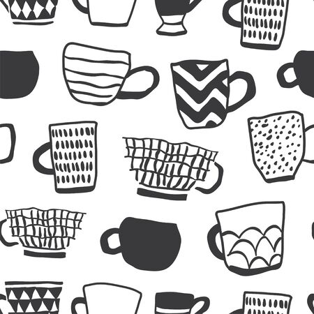 Seamless pattern with ink black and white cups of coffee illustrations on white background. Autumn and winter mood. Home decorations isolated on white background. Scandinavian style Ilustrace