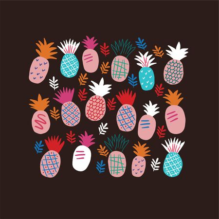 Set of colorful abstract pineapples isolated on black. Cute pineapples doodles. Square banner with tropical fruits on white background. Hand drawn tropical vector illustration.