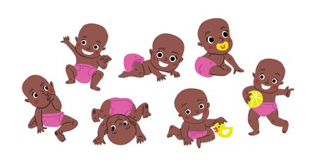 Cute baby or toddler vector illustration in various poses such as standing, sitting, playing, crawling. Baby shower illustration. Dark skin African cute baby girl activities