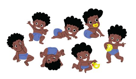 Cute baby boy or toddler vector illustration in various poses such as standing, sitting, playing, crawling. Baby shower illustration. Dark skin African cute baby boy activities