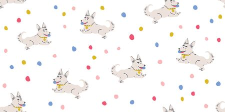 Vector seamless pattern with cute corgi dogs with ball and colorful dots on white. Nursery, textile, fabric design for kids, boys, girls. Scandinavian style textile. Dog, puppies illustrations. Ilustrace