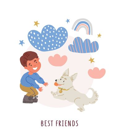 Vector illustration of a boy with corgi puppy with ball toy, clouds, stars, rainbows, lettering in cartoon hand drawn style isolated on white. Kids postcard design of best friends. Dog owner with dog Ilustrace
