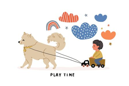 Cute vector illustration of a boy riding on truck with dog samoyed in front. Playful kids postcard in cartoon hand drawn style. Kids illustration, poster, card with lettering, clouds, stars, rainbow Reklamní fotografie - 140094178