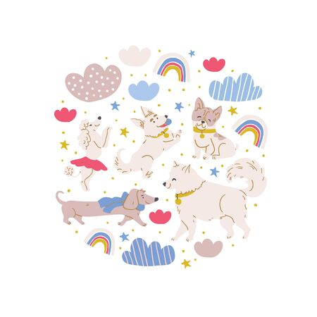 Vector circle illustration with cute dogs : poodle, bulldog, dachshund, corgi, samoyed with clouds, stars, rainbows on white. Horizontal banner, perfect for kids textile, nursery decor, fabric Ilustrace