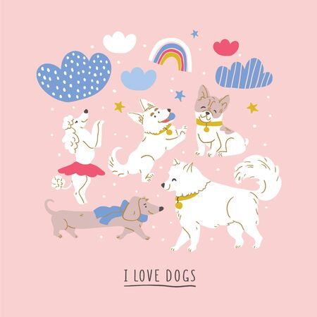 Square vector illustration with cute dogs : poodle, bulldog, dachshund, corgi, samoyed with clouds, stars, rainbows on pink. Horizontal postcard design, perfect for kids textile, nursery decor, fabric Ilustrace