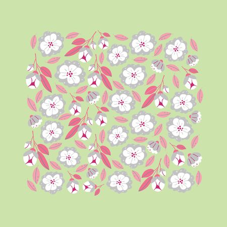 Vector square banner with spring flowers and herbs isolated on light green background. Square spring poster in cartoon hand drawn style. Minimalistic flowers in bloom. Perfect for textile, fabric