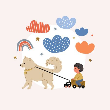 Cute vector illustration of a boy riding on truck with dog samoyed in front, clouds, rainbows, stars. Playful kids postcard in cartoon hand drawn style on pink background Reklamní fotografie - 140182073