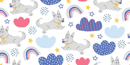 Vector seamless pattern with cute corgi dogs with ball, clouds, stars, rainbows on white. Nursery, textile, fabric design for kids, boys, girls. Scandinavian style textile. Dog, puppies illustrations. Ilustrace