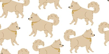 Vector seamless pattern with cute samoyed dogs on white. Nursery, textile, fabric design for kids, boys, girls. Scandinavian style textile. Dogs, puppies illustrations children pattern design