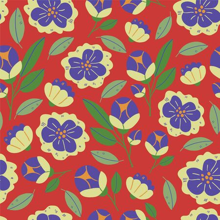 Vector seamless pattern with spring flowers, herbs, leaves isolated on red background. Spring background in cartoon hand drawn style. Minimalistic flowers in bloom. Perfect for textile, fabric