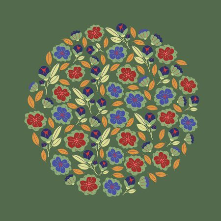 Circle round illustration with spring flowers, herbs, leaves isolated on green. Spring background in cartoon hand drawn style. Minimalistic flowers in bloom. Perfect for textile, fabric, postcard
