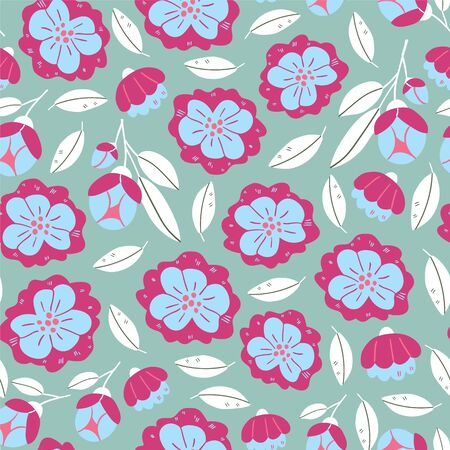 Vector seamless pattern with spring flowers, herbs, leaves isolated on blue background. Spring background in cartoon hand drawn style. Minimalistic flowers in bloom. Perfect for textile, fabric