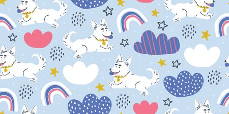 Vector seamless pattern with cute corgi dogs with ball, clouds, stars, rainbows on blue. Nursery, textile, fabric design for kids, boys, girls. Scandinavian style textile. Dog, puppies illustrations. Ilustrace