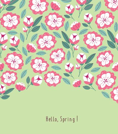Postcard with spring flowers, herbs, leaves isolated on green background. Spring background in cartoon hand drawn style. Minimalistic flowers in bloom, lettering. Perfect for textile, fabric, postcard Ilustrace