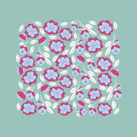 Vector square banner with spring flowers, leaves and herbs isolated on light blue background. Square spring poster in hand drawn style. Minimalistic flowers in bloom. Perfect for textile, fabric Illustration