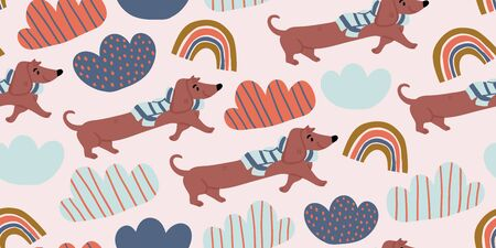 Vector seamless pattern with cute dachshund dogs on scarf, clouds, rainbows on pink. Nursery, textile, fabric design for kids, boys, girls. Scandinavian style textile. Dog, puppies illustrations.