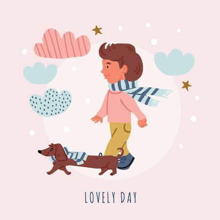 Vector illustration of a boy with dachshund puppy walk with clouds, stars, lettering in cartoon hand drawn style isolated on pink. Kids postcard design of best friends. Dog owner with dog, dog walk