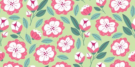 Vector seamless pattern with spring flowers, herbs, leaves isolated on green background. Spring background in cartoon hand drawn style. Minimalistic flowers in bloom. Perfect for textile, fabric