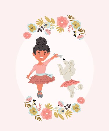 Vector illustration of a girl ballerina dancing with poodle puppy with flowers wreath in cartoon hand drawn style isolated on pink. Kids postcard design of best friends. Dog owner with dog hugging