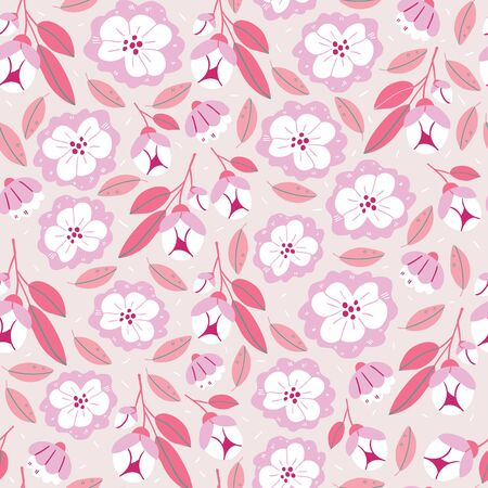 Vector seamless pattern with spring flowers, herbs, leaves isolated on pink background. Spring background in cartoon hand drawn style. Minimalistic flowers in bloom. Perfect for textile, fabric Illustration