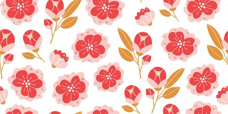 Vector seamless pattern with spring flowers, herbs, leaves isolated on white background. Spring background in cartoon hand drawn style. Minimalistic flowers in bloom. Perfect for textile, fabric