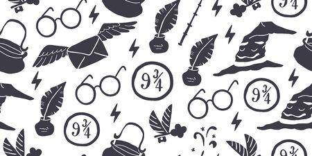 Décrivez le modèle sans couture blanc noir avec l'école magique d'éléments : chapeau magique de tri, plume avec l'encre, lunettes rondes, lettre volante, baguette magique, flash, clé volante. Modèle d'enfants, conception magique Vecteurs