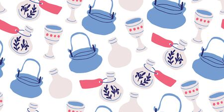 Seamless pattern with pots, witch kettles, grails, poison bottles, stars on white background. Kids pattern design with cute school of magic elements in hand drawn cartoon style