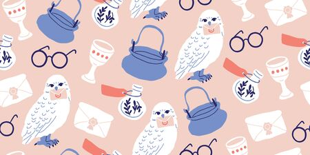 Seamless pattern: elements for witches at school of magic in doodle style - owl, potion, round glasses, pot, kettle, white owl, letter, grail, goblet. Kids magic pattern Ilustrace