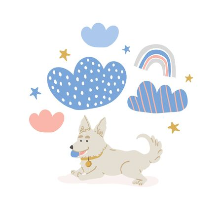 Vector circle illustration with cute corgi dog with ball in claw, with clouds, stars, rainbows on white. Horizontal banner, perfect for kids textile, nursery decor, fabric Ilustrace