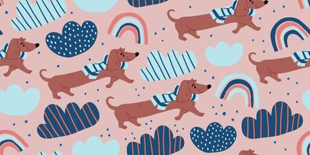 Vector seamless pattern with cute dachshund dogs on scarf, clouds, rainbows on pink. Nursery, textile, fabric design for kids, boys, girls. Scandinavian style textile. Dog, puppies illustrations. Reklamní fotografie - 143068939