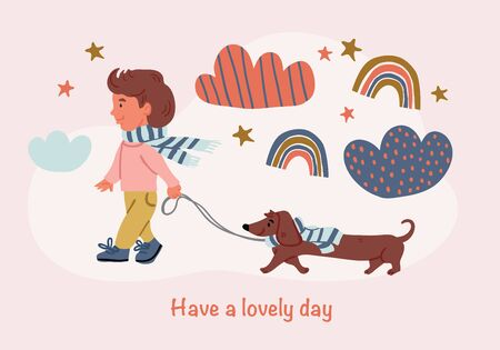 Vector illustration of a boy with dachshund puppy walk with clouds, stars, rainbows in cartoon hand drawn style isolated on pink. Kids postcard design of best friends. Dog owner with dog, dog walk