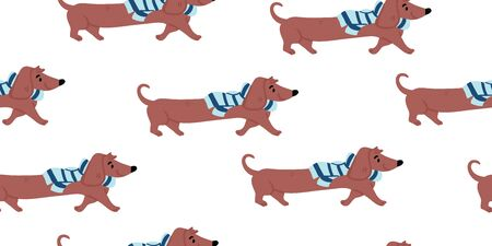 Vector seamless pattern with cute dachshund dogs wearing scarfs on white background. Nursery, textile, fabric design for kids, boys, girls. Scandinavian style textile. Dog, puppies illustrations.