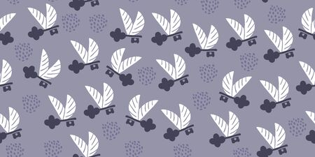 Vector seamless pattern with flying keys with wings and polka dots. Minimalistic textile design with keys
