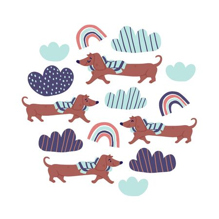 Circle illustration with cute dachshund dogs wearing scarfs on white background, rainbows, clouds. Nursery, textile, fabric design, square banner for kids, boys, girls.  Square banner with dogs Ilustrace