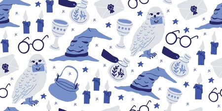 Hand drawn cartoon seamless pattern with elements of magic school: witch hat, feather with ink, round eye glasses, flying letter, magic wand, stars, white owl, candles, potion, goblet