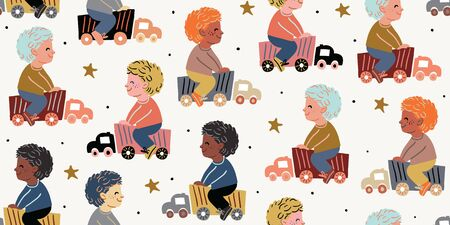 Vector seamless pattern with little boys riding toy cars. Boys playing with car trucks. Different ethnicities. Kids pattern with boys, nursery decor, textile. Car trucks with stars on light background