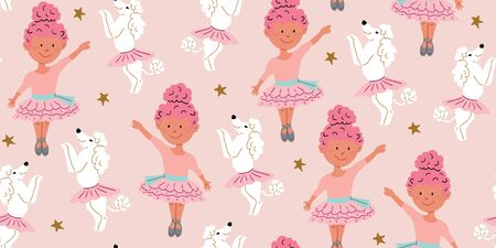 Seamless pattern with cute poodle dogs in cute ballet skirts dancing with girl ballerina with pink hair, on pink. Vector cartoon ballet dance pattern. Kids design, posters, nursery decor, textile