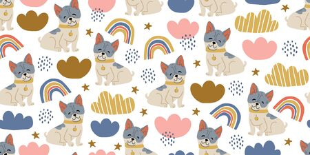 Vector seamless pattern with cute bulldog dogs, clouds, rainbows on white. Nursery, textile, fabric design for kids, boys, girls. Scandinavian style textile. Dog, puppies illustrations.