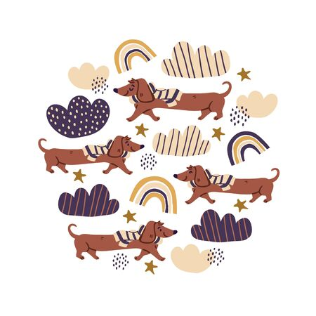 Circle illustration with cute dachshund dogs wearing scarfs on white background, rainbows, clouds. Nursery, textile, fabric design, square banner for kids, boys, girls.  Square banner with dogs Reklamní fotografie - 143155136