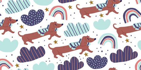 Vector seamless pattern with cute dachshund dogs on scarf, clouds, rainbows on white. Nursery, textile, fabric design for kids, boys, girls. Scandinavian style textile. Dog, puppies illustrations. Reklamní fotografie - 143155140