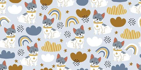Vector seamless pattern with cute bulldog dogs, clouds, rainbows on blue. Nursery, textile, fabric design for kids, boys, girls. Scandinavian style textile. Dog, puppies illustrations. Ilustrace