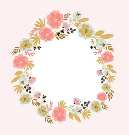 Vertical banner with spring flowers, herbs, leaves isolated on light pink background. Spring background in cartoon hand drawn style. Minimalistic wreath in bloom. Perfect for textile, fabric, postcard