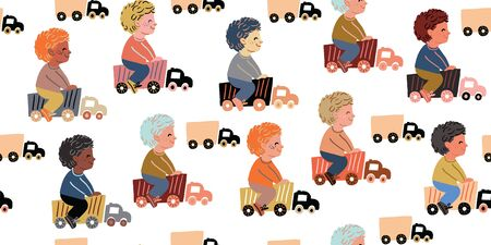 Vector seamless pattern with little boys riding toy cars. Boys playing with car trucks. Different ethnicities. Kids pattern with boys, nursery decor, textile. Car trucks with boys on light background