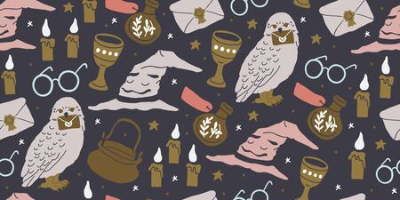 Vector seamless pattern with magician objects - witch hat, candles, goblet, potions bottles, eyeglasses, magic letter, stars on dark background. Halloween pattern. Perfect for kids textile, clothing