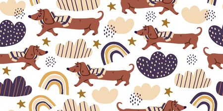 Vector seamless pattern with cute dachshund dogs on scarf, clouds, rainbows on white. Nursery, textile, fabric design for kids, boys, girls. Scandinavian style textile. Dog, puppies illustrations. Ilustrace