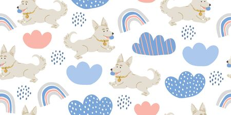 Vector seamless pattern with cute corgi dogs with ball, clouds, rainbows on white. Nursery, textile, fabric design for kids, boys, girls. Scandinavian style textile. Dog, puppies illustrations.